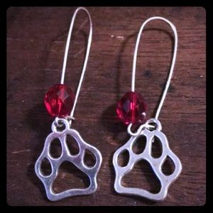 Jewelry - Red Beaded Paw Print Handmade Earrings New